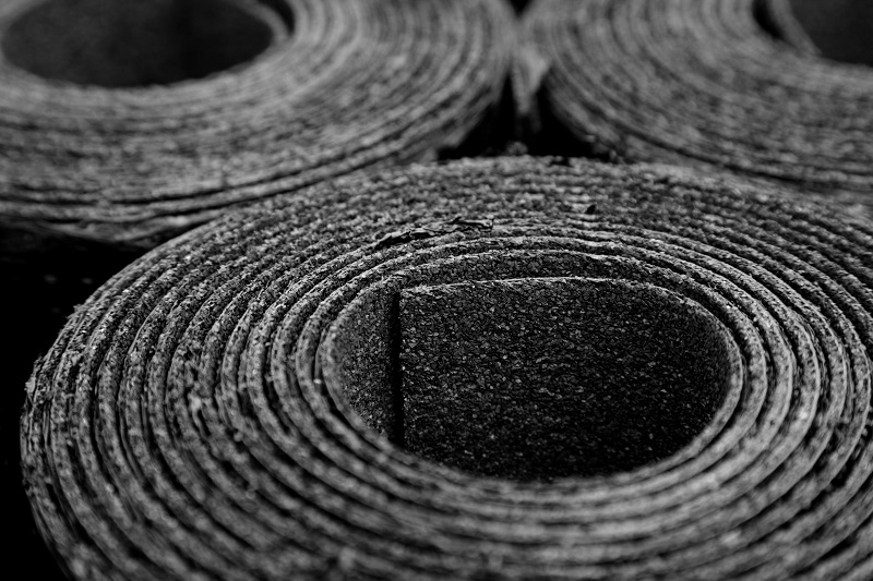 rolls of roofing felt