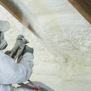 Spray polyurethane foam for industrial roofs.