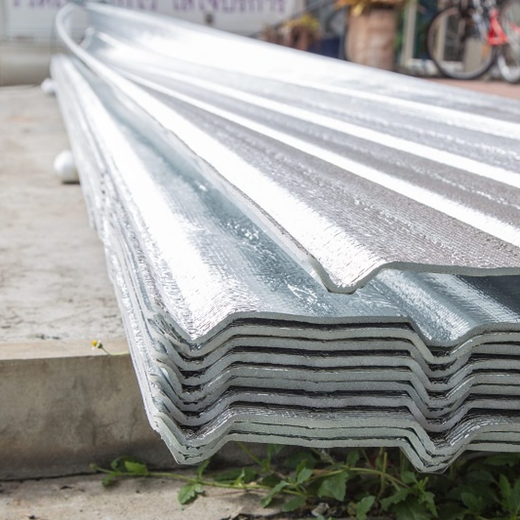 Texture of aluminium foil for roof background